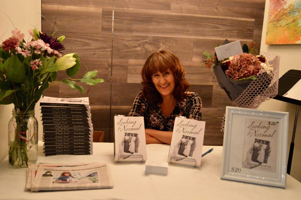 Author Karen Harmon at her book launch event in North Vancouver